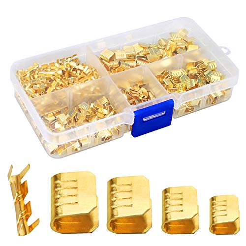 KeeYees 500 Pcs U Shape Copper Ring Terminals Crimp Kit - Non-Insulated Assortment Cable Wire Spade Electric Butt Connector Kit