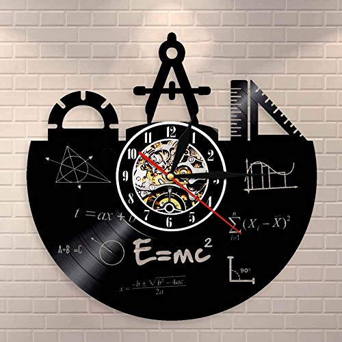BFMBCHDJ Mathe Formel Wandkunst Wanduhr Schallplatte Uhr Pythagoras Theorem Klassenzimmer Quadratische Formel Wanddekor Lehrer Geschenk