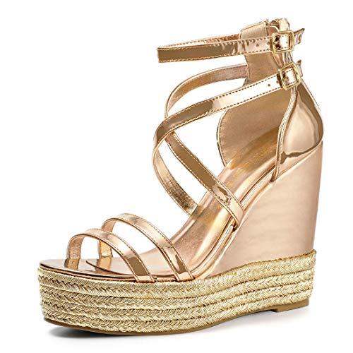 Allegra K Damen Kreuz Strappy Keilabsatz High Heels Sandalen Gold 40