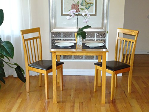 Rattan Wicker Furniture 3 Pc Dining Kitchen Set of Square Table and 2 Classic Solid Wooden Chairs Warm in Maple Finish