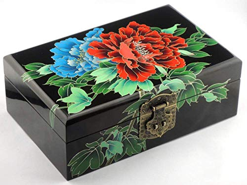 ALIANG Caja de Almacenamiento China de Madera Pingyao Lacquerware Push Lacquer Retro Maquillaje Caja de tocador Bolsa de Madera