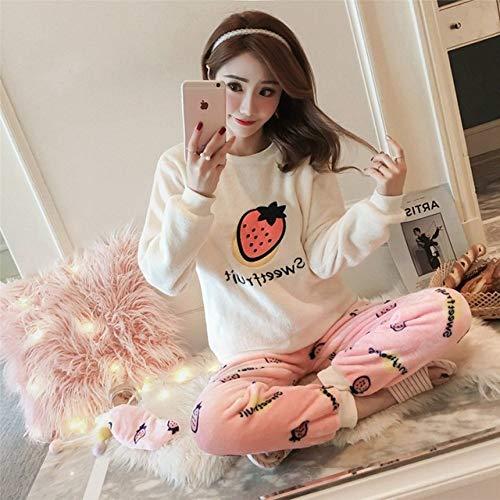 HIUGHJ Winter-Pyjama-Set mit langen Ärmeln, Korallen-Samt, niedliches Cartoon-Design, dick, warm, gestreift, Flanell, Pyjama-Sets für Damen, C, XXL