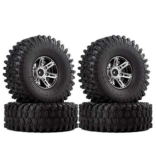 INJORA 1.9 Inch Tyre Set 4Pcs Beadlock Wheel Rim and Rubber Tires for 1/10...