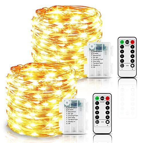 Led Lichterkette Batterie, 2er 12M 120 LED Lichterkette 8 Modi Außenbeleuchtung Kupferdraht Wasserdichte IP65 mit Fernbedienung und Timer für Outdoor,Innenbeleuchtung,Weihnacht (Warmweiß)