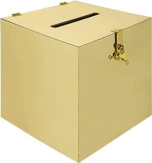 Koyal Wholesale Gold Mirror Acrylic Wedding Card Box with Slot and Gold Metallic Lock Buckle, 12