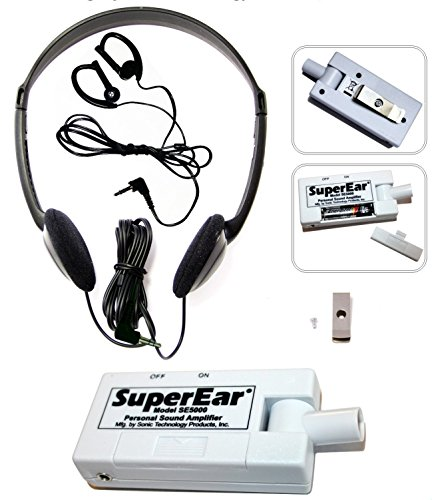 SuperEar Personal Sound Amplifier Model SE5000 Increases Ambient Sound Gain 50dB, CMS/ADA Section 1557 Compliant Auxiliary Listening Device.