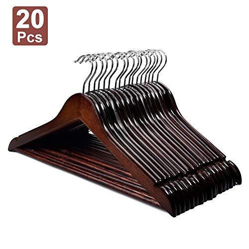 HOUSE DAY Lot de 20 Cintres en Bois Crochet Rotatif Classique Style Rétro résistants de première qualité Couleur Brun pour Robe Chemise Pantalon Manteau