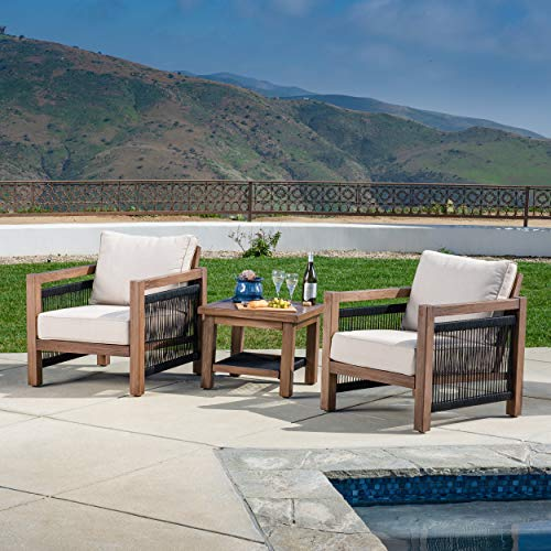 AE Outdoor DPS206390B Laney 3 Pc Aluminum Deep Seating, Tan