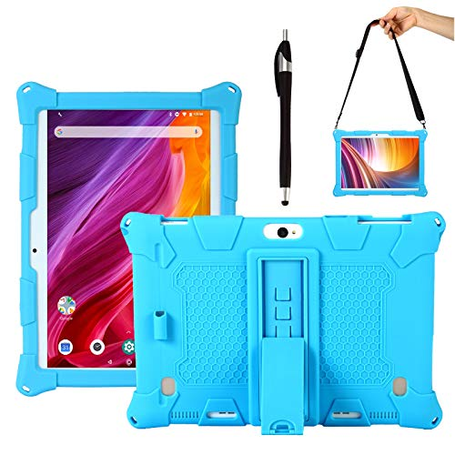 Transwon Case for Dragon Touch K10/ Max10, FLYINGTECH/Victbing/ZONKO/JUNLONG/KOOA/Tabtrust 10.1, penen M6 M7 M8 10 Inch Android Tablet, Pavoma G2/ P8 10 Inch Tablet, Feonal 10.1, AMN H2 - Blue