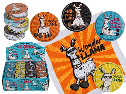 12er Set Magisches Zauber-Handtuch Llama Tier Motiven Waschlappen Kinder-Geburtstag Mitgebsel Geschenk-Idee Party Gewinn Spiel Give-aways (12er Set Llama)