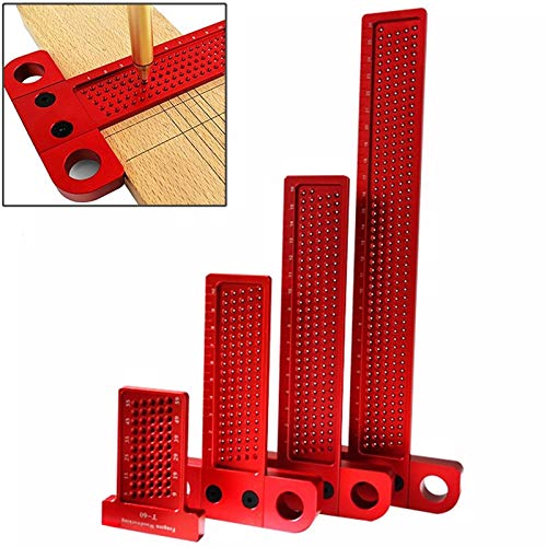 WY-YAN T-tipo de carpintería Scribe 60-400mm Regla agujero Scribing regla de aluminio de aleación de dibujo lineal gramil Herramientas de medición de bricolaje