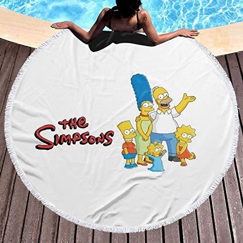 Sim_pson - Toalla de playa redonda de microfibra para niños, mujeres, niñas y niños