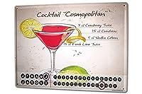 カレンダー Perpetual Calendar Nostalgic Alcohol Retro Cocktail cosmopolitan Tin Metal Magnetic