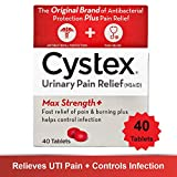 Cystex Urinary Pain Relief Tablets | Fast UTI Treatment | Controls Frequent Urination | Keeps Urinary Tract Infection from Worsening | 40 Tablets | Pack of 1