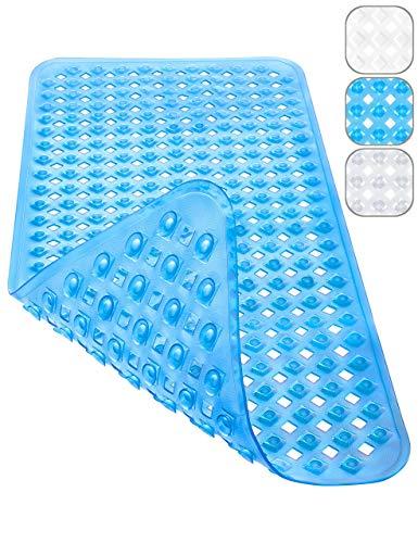 Homerella Badewannenmatte Hautsensitiv 88x39cm | BPA Frei INKL. AUFHÄNGUNG | Antirutschmatte Badewanne | Badewanneneinlage | Duschmatte rutschfest für Kinder & Baby (blau)