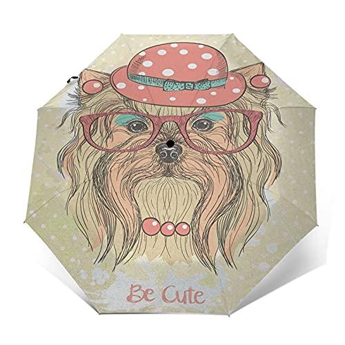 Paraguas Plegable Automático Impermeable Retrato Perro Pendientes Collar Gafas, Paraguas De Viaje Compacto A Prueba De Viento, Folding Umbrella, Dosel Reforzado, Mango Ergonómico