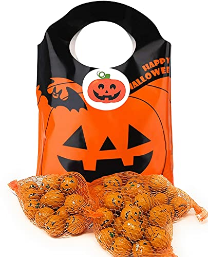 Halloween Chocolate Pumpkins in a net, Trick or Treat Milk Chocolate Pumpkin balls 75g (3 pack) and Halloween Themed gift bag