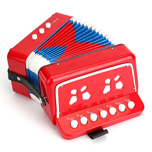 Tosnail Kids Accordion Toy 10 Keys Buttons Control Mini Musical Instruments for Children, Kids, Toddlers, Early Childhood Development