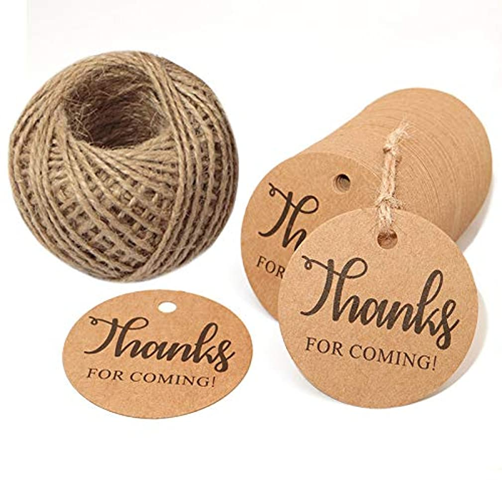 Thanks for Coming Tags,100 Pcs 5cm Round Kraft Paper Thank You Gift Tags for Wedding Favor Christmas with 100 Feet Jute Twine