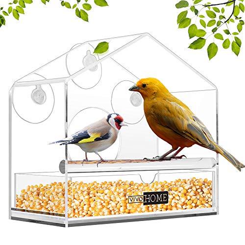VIVOHOME Acrylic Squirrel Proof Clear Window Bird Feeder