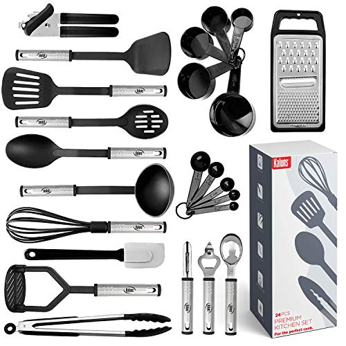 Kitchen Utensil Set 24 Nylon and Stainless Steel Utensil Set,...