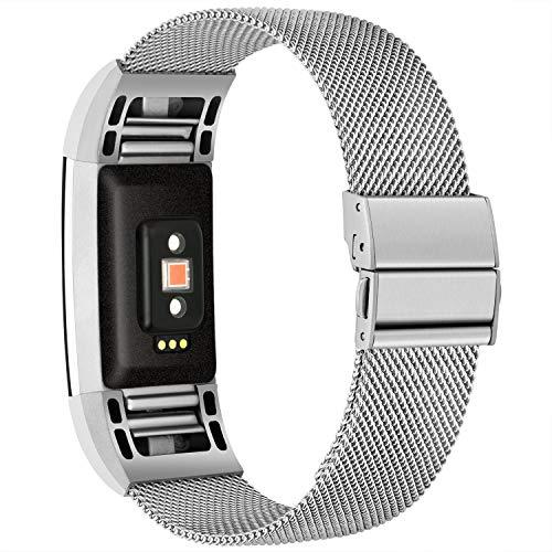 TECOOL Correa de Repuesto Compatible con Fitbit Charge 2, Ajustable Correa de Acero Inoxidable Banda de Reemplazo de Metal, Pulsera para Fitbit Charge 2, Mujeres y Hombres, Grande