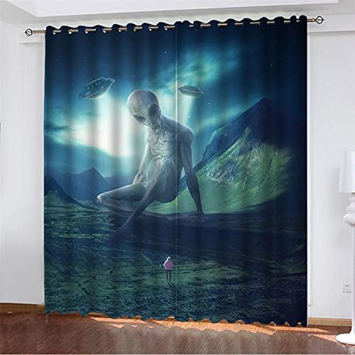 NQING Cortinas De Poliéster Impresas En 3D De La Serie People and Plants, Sombreado Y Reducción De Ruido, Cortinas Perforadas 2xAN107xAL183cm