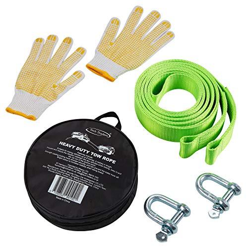 Tech Traders ® Recovery Straps, Abschleppgurt, Abschleppseil/Abschleppstraßen-Gurt für Autos, fluoreszierend, 5 m, mit 2 Fesseln und 2 rutschfesten Handschuhen, inkl. Tragetasche