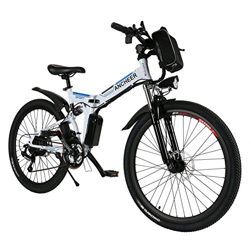 ANCHEER Electric Bike with 36V 8AH Lithium-Ion Battery Lightweigh E-Bike with 250W Motor and Battery Charger (White)