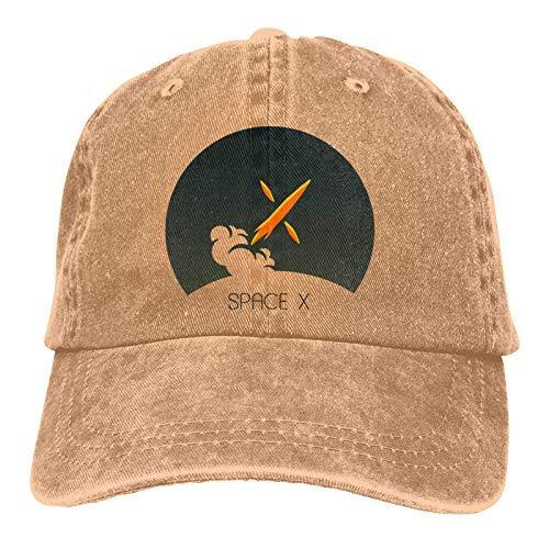 VJSDIUD Spacex Gorras de béisbol Hombres Mujeres Camping Adulto Sombrero de Vaquero Ajustable Casquette Negro