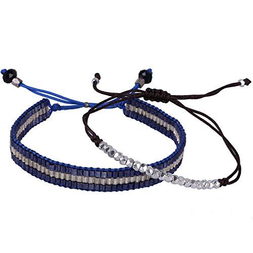 C·QUAN CHI 2 Stück Silber Perle Handgemachtes Armband Mischfarbe Kristall Samen Perlen Armband Böhmisches geflochtenes Seil Armband