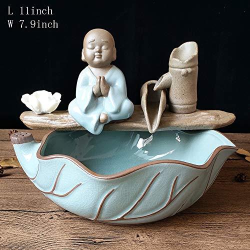 Statues Censer Buddha,Desktop Zen Fountain Little Monk Water Fountain Sandalwood Furnace Fish Home Decoration Handicraft -D 11inch