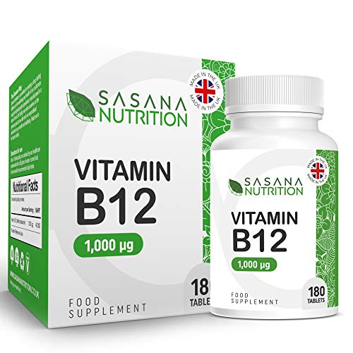 Sasana Nutrition Vitamin B12 Tablets High Strength 1000mcg - 180 Vegan/Vegetarian Tablets 6 Months Supply – B12 Vitamin Manufactured in The UK