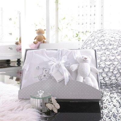 Izziwotnot - Coffret cadeau 3 pièces Cherish, de luxe - blanc lys - 6 à 9 mois