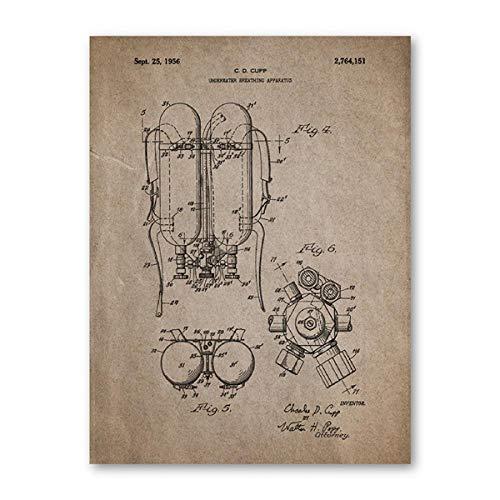 Traje De Buceo Impresión De Carteles Antiguos, Regalo De Bu