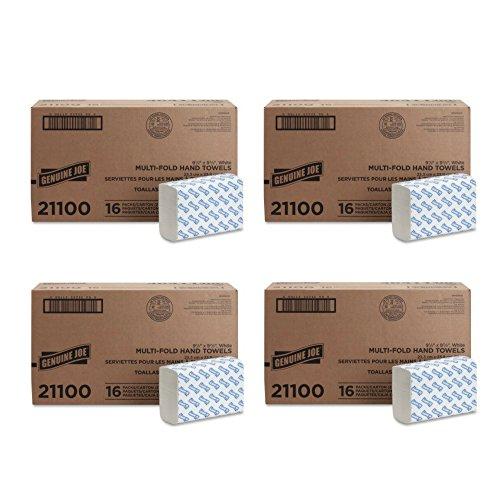 """Genuine Joe GJO21100 Multifold Towels, 9.5"""" x 9.10"""", pack of 16 - (4 Pack)"""