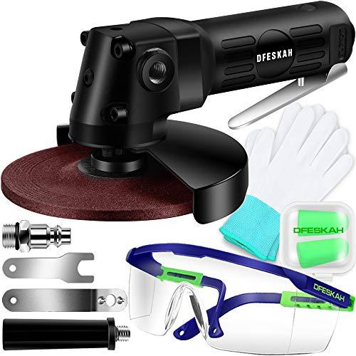 Druckluft Winkelschleifer, DFESKAH 125mm Air Angle Grinder Trennschleifer Set Drehzahlregelung 11000U/min, Schleifmaschine Schleifer Multischleifer Trenn-, Schleif- und Schrupparbeiten