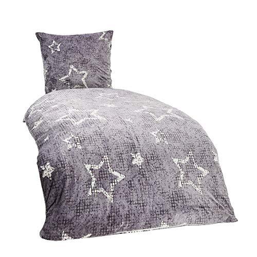 Winter Plüsch Bettwäsche Nicky-Teddy Cashmere Coral Fleece 135x200 155x220 200x200 Kissenbezug 80x80 Verschiedene Muster, Größe:200 x 200 cm, Design - Motiv:Star GRAU
