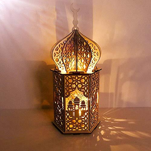 LIAWEI DIY Ramadán Eid Mubarak Adornos de madera con forma de luna luz de noche LED musulmán Ramadán luz de mesa Artesanías Decoración de escritorio para Festival Casa Fiesta