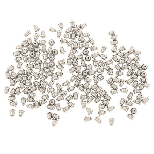Nobranded 200pcs Earring Back Stoppers Plug Ear Post Nuts Jewelry Finding - Sliver Plated, 5 * 1mm