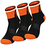 Fast Cycles – Pack de 3 calcetines deportivos transpirables para ciclistas– Calcetines para hacer deporte, para hombre y mujer Para Mountain Biking, Spinning, Fitness, Tenis black/orange 35-39
