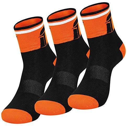 Confezione da 3 paia di calze da corsa traspiranti per ciclismo, per uomo e donna. Per mountain bike, spinning, fitness, tennis, jogging e corsa., Adulti (unisex), nero / arancione, 44-48