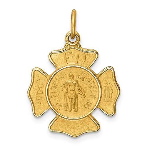 14 Karat Gelbgold, massiv poliert/satiniert, kleine St. Florian Feuerstelle Medaille