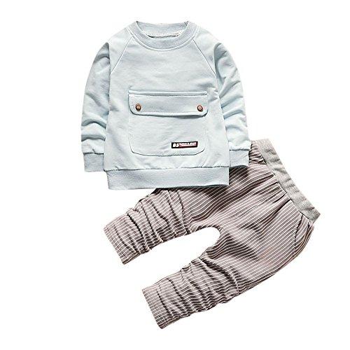 Hawkimin_Babybekleidung Hawkimin Kleinkind Kinder Baby Jungen mädchen Outfits LangarmT-Shirt Tops + Streifen Lange Hosen Kleidung Set