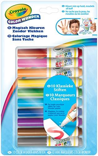 Crayola Color Wonder 10 mini feutres (10 couleurs, multicolores, rondes, 3 ans, 6 ans)