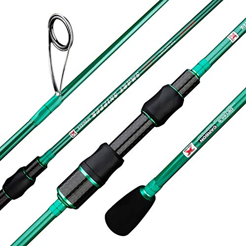 BERRYPRO Ultralight Spinning Fishing Rod, Travel Spinning Rod with Solid Carbon tip Fast Action, 2-8lbs, 1 32-1 8oz (6 , 6 6  ) (6 6  -Ultra Light-2pc)