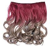 WIG ME UP - CMT-863-054TT16 clip-in extension de cheveux arrière de la tête large 5 clips bouclé dégradé rouge blond cendré 40 cm