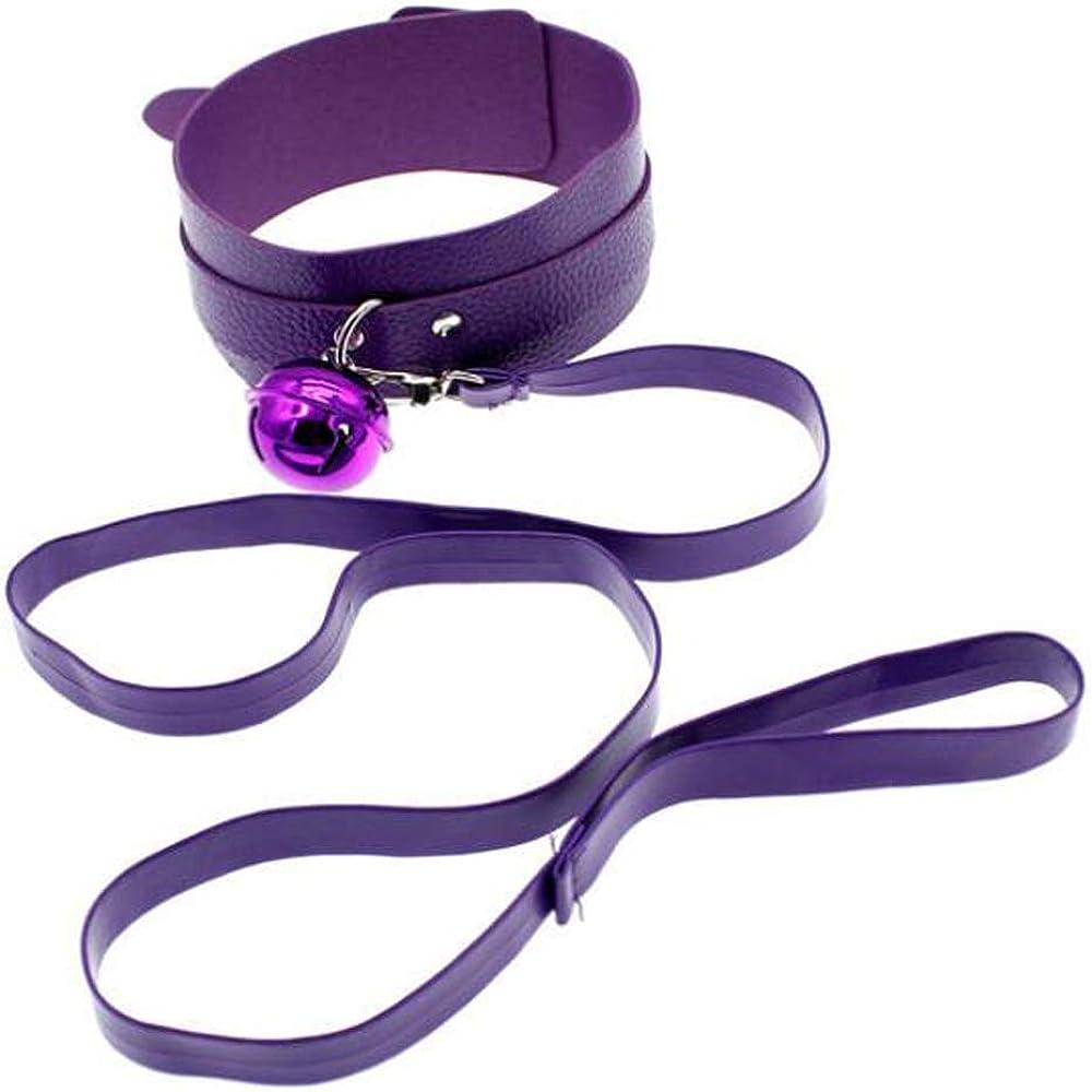 Collar de cuero púrpura para mujer Punk