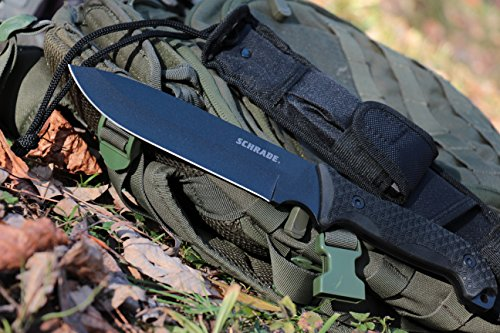 Schrade SCHF52 Frontier 13in High Carbon Steel Fixed Blade Knife with 7in Drop Point Blade and TPE Handle for Outdoor Survival Camping and EDC