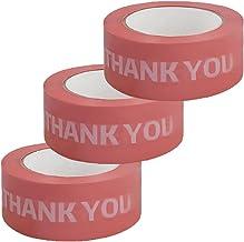TOMOP 3 Rollen Verpakking Tapes Roll 46 MM x 140 M Dank U Tape Roll Waterbestendig Gift Pakket Afdichting Pakket Tape voor...
